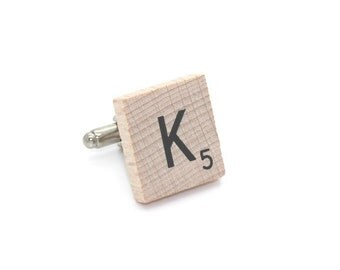 Wooden Scrabble Letter Cufflinks. ( Sold individually ) . Letter K . SKU005507