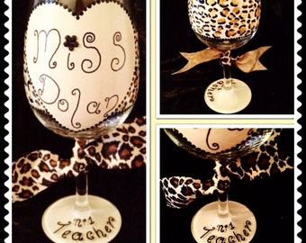 Personalised leopard print wine glass