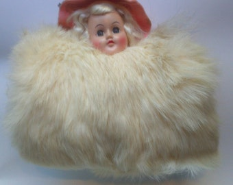Rare sleeve fur 1950 doll head