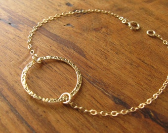 Gold Bracelet, Circle bracelet, tiny circle bracelet, Karma bracelet, minimalist gold bracelet, dainty gold bracelet, friendship bracelet