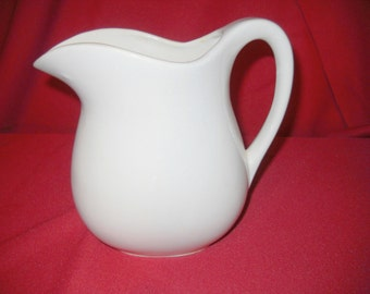 Vintage White Ceramic Milk Pitcher, Creamer, 24 ounce