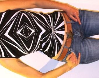 Vintage summer tank, women's geometric print tank, Morgan black psychedelic girl's viscose tank