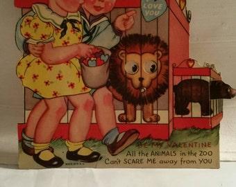 """Vintage Valentine """"Children's at the Zoo"""""""