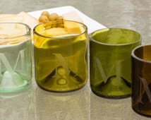 Set/4 Monogrammed glassware from recycled wine bottles. Hand engraved. Colors may vary