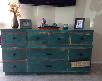 Distressed dresser, reclaimed painted wood. Inside of drawers painted for beauty at any angle.