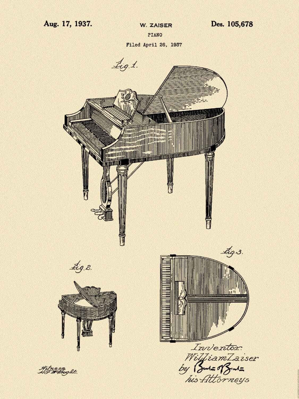 Patent 1937 wurlitzer piano grand piano music art for Piani art deco