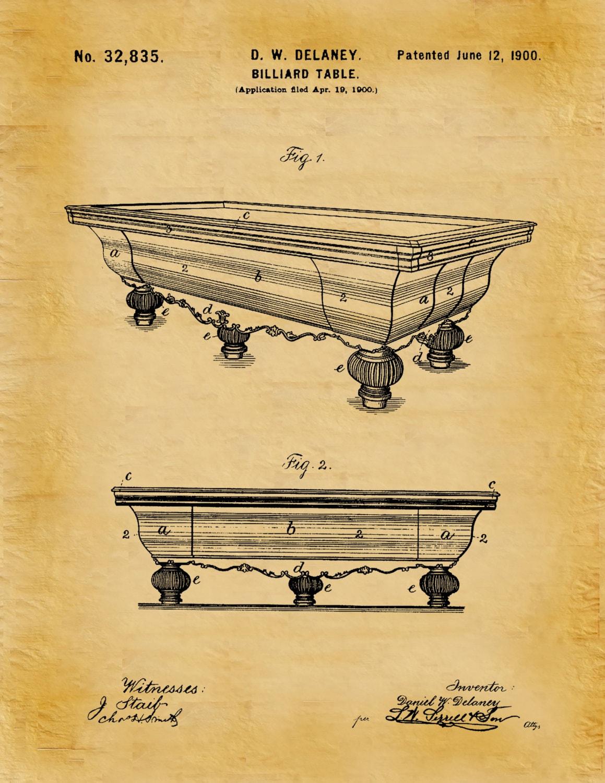 Patent 1900 Billiard Table Patent Art Print Poster Print