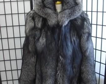 Brand new silver fox fur bomber jacket coat w/hood for men mansize all custom made