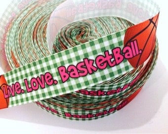 1 inch Live Love Basketball on Cute Green Plaid Gingham Sports Printed Grosgrain Ribbon for Hair Bow