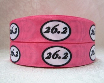 7/8 inch 26.2 Marathon on Pink Run Running Runner  Mile  Sports Printed Grosgrain Ribbon for Hair Bow