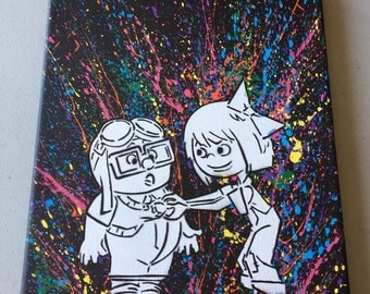 Carl and ellie  up canvas 8x10