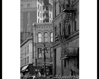 Old  Building and Architecture. Gastown,  Vancouver, BC. Black and White.