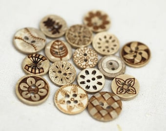 10 pcs Flower Pattern Wooden Buttons,Small Wooden Buttons,Buttons For Child(58-2)