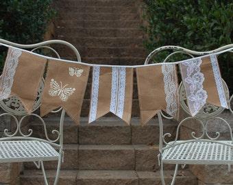 Burlap & Lace pennant garland