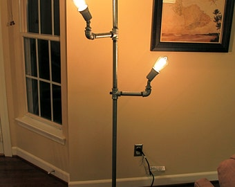 Industrial Iron & Steel Pipe Steampunk Floor Lamp (Edison Bulbs)