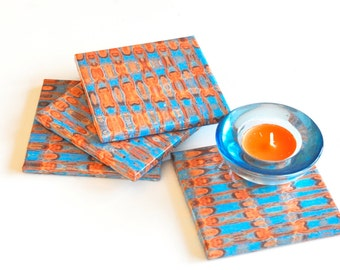Psychedelic Pattern Ceramic Coasters, Tile Coasters Orange and Blue, Drink Coasters Set of 4, Table Coasters