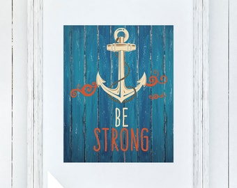 Nautical Nursery Art, Anchor Wall decor, Boyu0027s nursery or bedroom, cream,  orange, u0026 blue, rustic wood decor, Be strong, Gray Frames digital