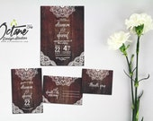 Rustic Wood & Lace Wedding Invitation Suite - Includes 4x6 Save The Date Postcard + 5x7 Invitation + 4x6 RSVP postcard + Thank You Card #113