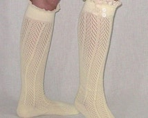 Ivory Lace Trim Button Top Boho Boot Socks Chevron Pattern Crochet Top For Women Easter Socks Coachella Festival Socks