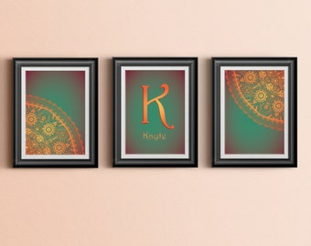 Custom Home Decor- Girls Room Personalized Initial Floral/Henna/Paisley 3 Print Wall Art