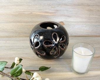 Candle lantern, Ceramic Night Light, Hand thrown Hand carved Pottery luminary, Tealight lantern, Bathroom Decor, Gift ideas, Small gifts.