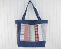 ... Bag with Recycled Men's Shirts, Farmers Market Bag, Denim Tote Bag