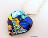 "Dichroic Glass Pendant - One-of-a-kind Multicolored Fused Glass Jewelry ""Appalachian Patchwork Heart"" Necklace"