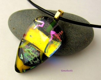 ON SALE! Color-Shifting Dichroic Fused Glass Handcrafted Jewelry Pendant Fickle Lady Multi-colored Tear Drop Glass Necklace