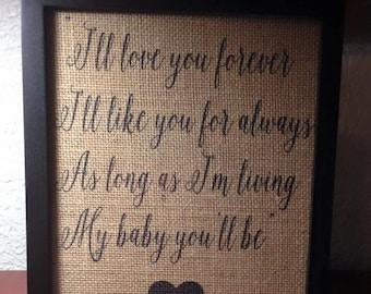 Love you forever framed sign