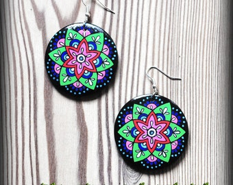 Pink and green Mandala earrings