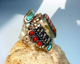 Ethnic Ring with Turquoise and Coral V