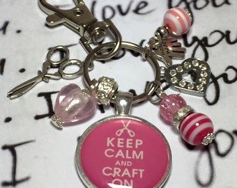 "Crafter Crafting keyring, craft on keychain,  bag charm ""Keep calm and craft on"" gift"