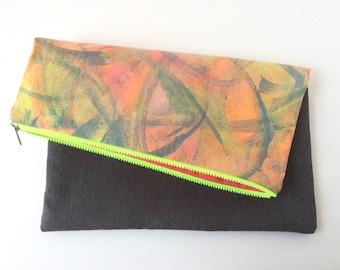 20% OFF SALE / Neon clutch, handmade purse, foldover clutch, modern purse, handbags Canada