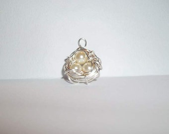 Sterling Silver and Pearl Birds Nest Necklace