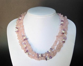 Necklace Pink Quartz 3 Strands Chips w/ FW White Pearls NSQS0280