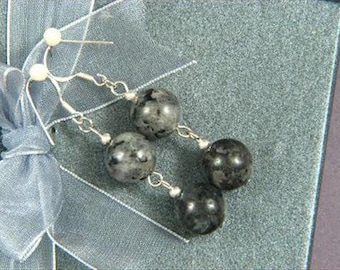 Earrings 2X Larvikite 12mm Round Beads 925 ESLK1183