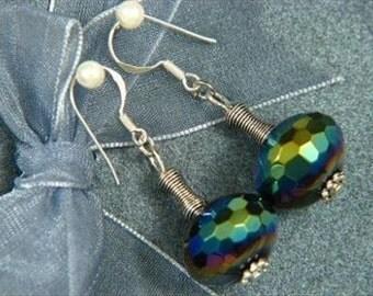 Earrings Dark Grey Crystal 16mm Facet Rondells 925 ESXR1361