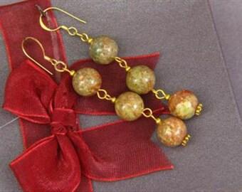Earrings 3X Autumn Jasper 10mm Round Beads 14K ESJA1718