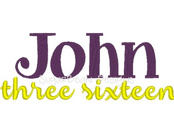 John 3:16 Embroidery Design. Two Sizes Included. Bible Verse Machine Embroidery Design.