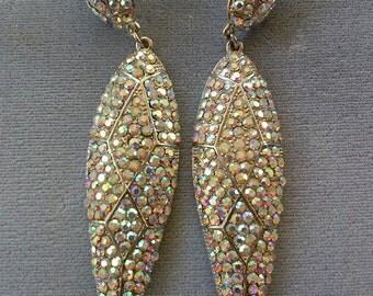 Long Dressy Crystal cluster earrings