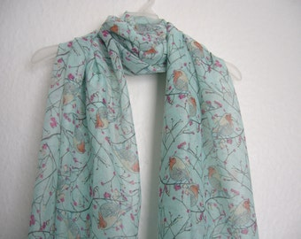 Pale Blue Bird Scarf, For Her, Spring Summer Scarf, Nature Accessories