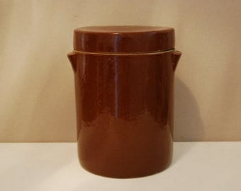 Large French vintage salt crock or pot à confit with lid, nice chocolate colour, 6 liter, farmhouse pottery