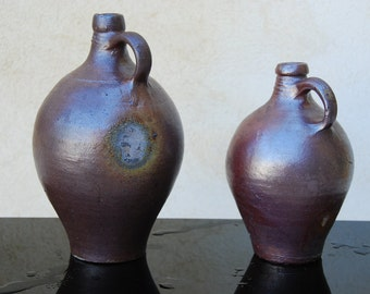 Provence. 2 Large French vintage olive oil jugs, soft creamy brown, large, farmhouse pottery, primitive work