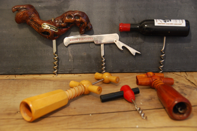 set of 6 vintage french bottle openers and cork screws. Black Bedroom Furniture Sets. Home Design Ideas