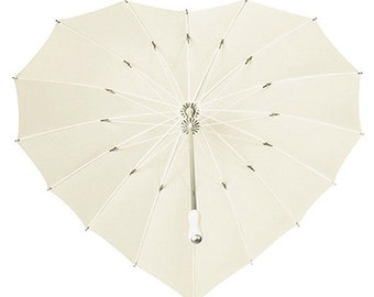 Heart shaped wedding umbrella. Ivory