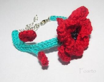 Spring Bracelet flower bracelet corochet in soft green and red bracelet for women gift ideas for her women's bracelet crochet jewelry (CB-9)