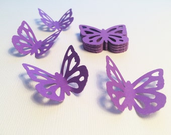25 Lilac Butterfly Paper Punches, Die Cuts - 1.6""