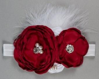 Red and White Headband, Shabby flower headband, toddler headband, Cherry headband, Girl headband, Over sized flower headband