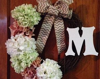 Hydrangea Personalized Door Wreath