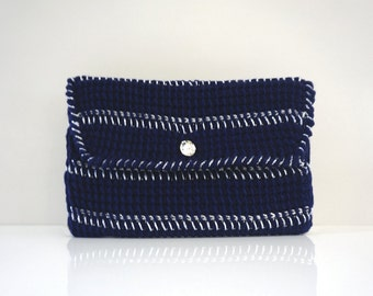 Crochet Clutch - Navy & Metallic stripe